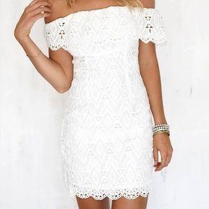 Dresses & Skirts - Lace/crochet Off Shoulder White Dress